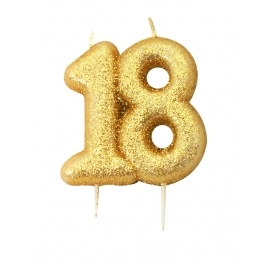 Number 18 Gold Glitter Numeral Moulded Pick Candle
