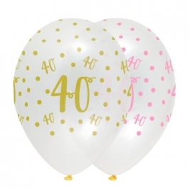 Number 40 Pink Chic Latex Balloons Crystal Clear All Round Print - Pack of 6
