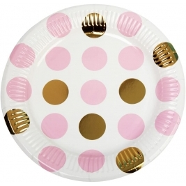 Pattern Works - Plate Dots, Pink, Pack of 8