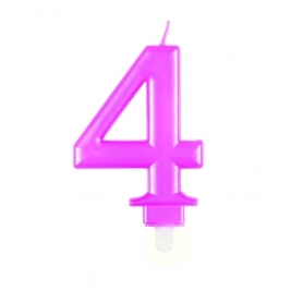 Pink Metallic Number 4 Candle