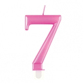 Pink Metallic Number 7 Candle
