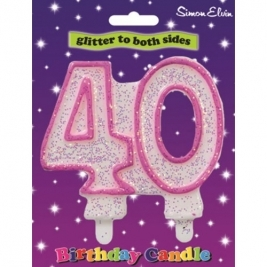 Pink Number 30 Glittered Birthday Candle