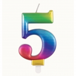 Rainbow Metallic Number 5 Candle