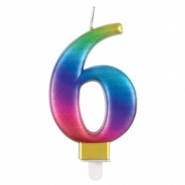 Rainbow Metallic Number 6 Candle