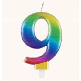Rainbow Metallic Number 9 Candle
