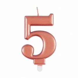 Rose Gold Metallic Number 5 Candle
