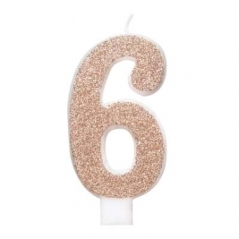 Unique Party 84976 84976-Glitz Rose Gold Number 6 Birthday Candle, Age 6