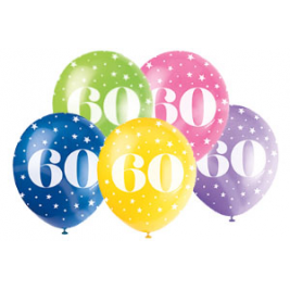60th Birthday Balloons Assorted 12