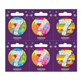 Age 7 Small Badges (6 assorted per perforated card) (5.5cm)