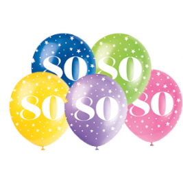 80th Birthday Balloons Assorted 12