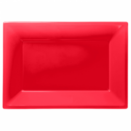 Apple Red Plastic Serving Platters - 3PK