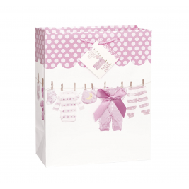 BABY BOW  CLOTHESLINE PINK  LARGE GLOSSY GIFT BAG