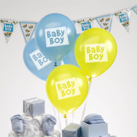 Baby Boy Balloons 2 Designs- Pack of 8