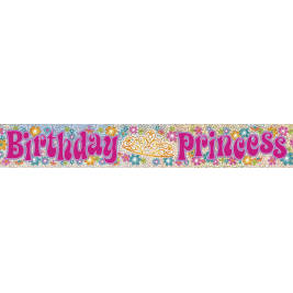 BIRTHDAY PRINCESS PRISMATIC BANNER 12 FT.