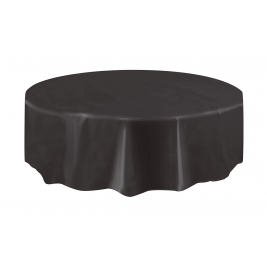 MIDNIGHT BLACK ROUND PLASTIC TABLECOVERS 84
