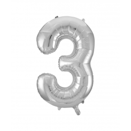 Number 3 Giant Silver Foil Balloon 34 Inches