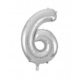 Number 6 Giant Silver Foil Balloon 34 Inches