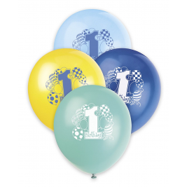 First Birthday Balloons Blue BALLOONS PRINTED 1 SIDE 12