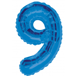 Blue Number 9 Balloon - 34