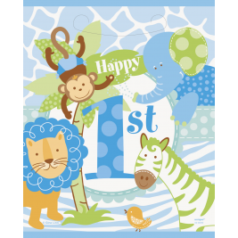 Blue Safari 1st Birthday LOOT BAGS - Pack of 8