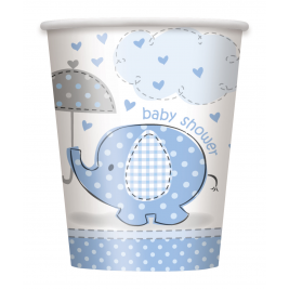 Umbrellaphants Blue Baby Shower 9oz CUPS - Pack of 8