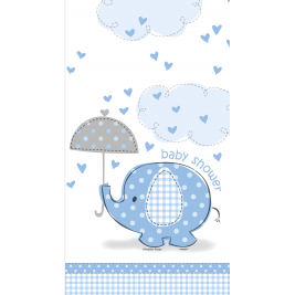 Umbrellaphants Blue Baby Shower PLASTIC TABLECOVER 54