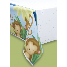 Boy Monkey Baby Shower PLASTIC TABLECOVER 54