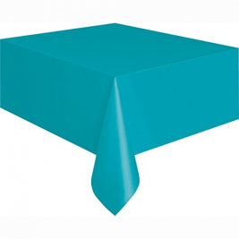 CARIBBEAN TEAL PLASTIC TABLECOVERS 54