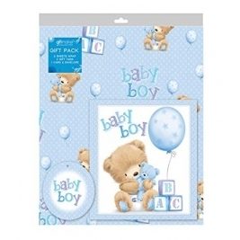 Baby Boy 2 Sheets Gift Wrap, 2 Tags and a Card