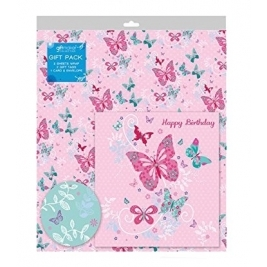 Butterfly 2 Sheets Gift Wrap, 2 Tags and a Card