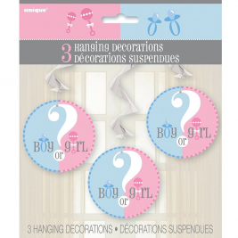 PRINTED HANGING SWIRL DECORATIONS GENDER REVEAL