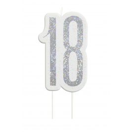 Black Glitz Number 18 Birthday Candle