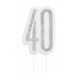 Black Glitz Number 40 Birthday Candle