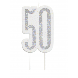 Black Glitz Number 50 Birthday Candle