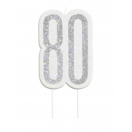 Black Glitz Number 80 Birthday Candle