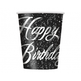 Silver Glitz Happy Birthday Cups 9oz (8pk)