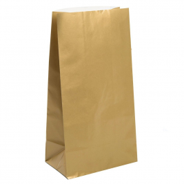 GOLD METALLIC SOLID COLOUR PAPER PARTY BAGS - pack of 10