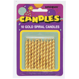 GOLD SPIRAL BIRTHDAY CANDLES - pack of 10