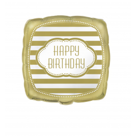Happy Birthday Golden Squared Foil Balloon 18 Inches