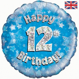 Happy 12th Birthday Blue Holographic Foil Balloon