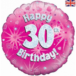 Happy 30th Birthday Pink Holographic Foil Balloon