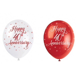 HAPPY 40TH ANNIVERSARY BALLOONS PACK OF 5