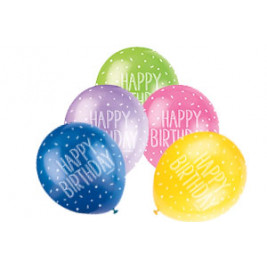 HAPPY BIRTHDAY ASSORTED BALLOONS PACK OF 5