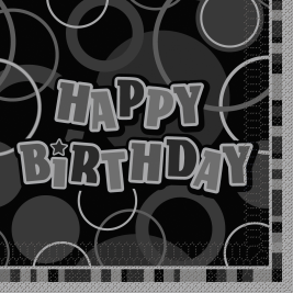 HAPPY BIRTHDAY Glitz Black Luncheon Napkins 3ply - Pack of 16