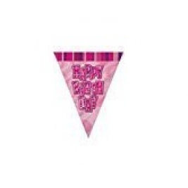 Unique  9ft Foil Glitz Pink Happy Birthday Bunting Flags