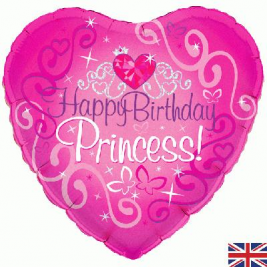 Happy Birthday Princess Holographic  Foil Balloon