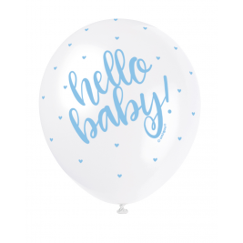 HELLO BABY BLUE COLOR PRINTED BALLOONS PACK OF 5