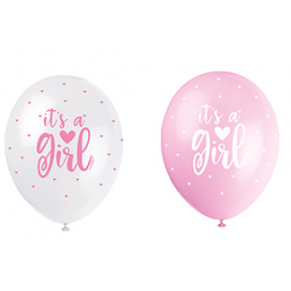 IT'S A GIRL PINK COLOR ASSORTED BALLOONS PACK OF 5