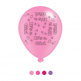 Its a Girl Latex Balloons (6 pks of 8 balloons)