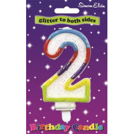 Milestone Double Sided Glitter Birthday Candle - Number 2